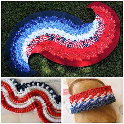 Patriotic quilted piece and macrame bracelets in red, white and blue.
