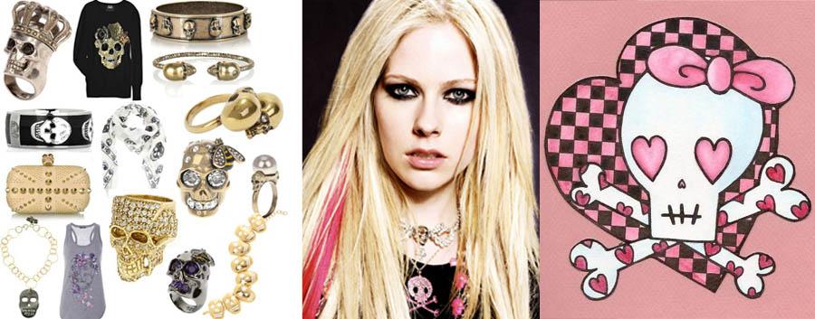 STOP CAVEIRISMO_Avril Lavigne_caveira rosa_Pink skull_caveira com lacinho_anel de caveira_pulseira de caveira