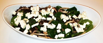 Lentil, Spinach Feta Salad with Sour Cherry Vinaigrette