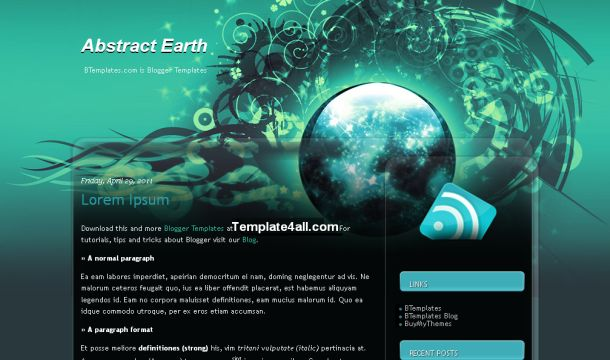 Free Black Grunge Blue Abstract Blogger Template