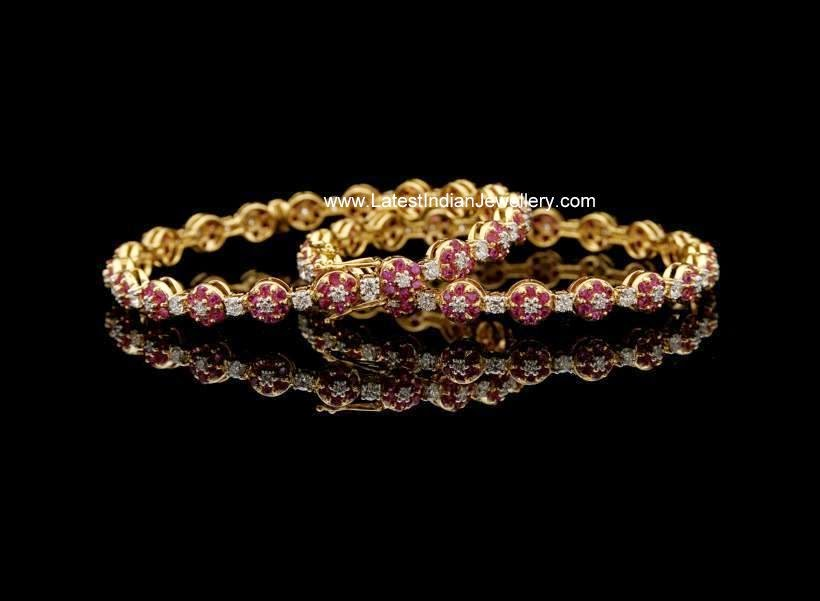 Ruby Diamond Floral Bangles