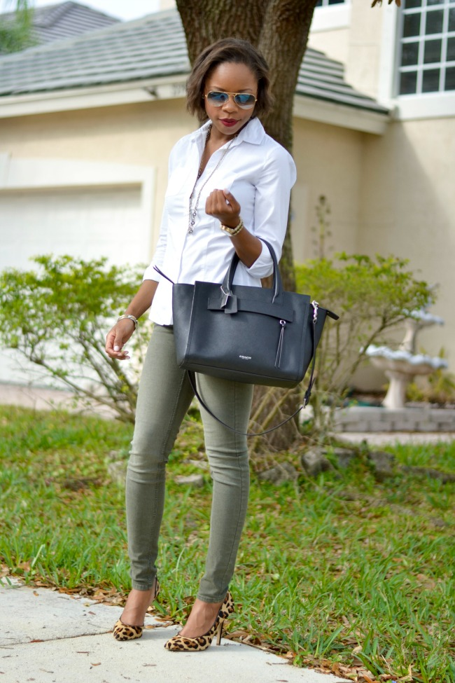 Spring Work Outfit | Olive Skinnies, White Button-down, Leopard Heels
