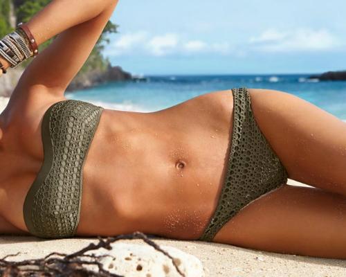 Kötött csipkés pánt nélküli bikini - Calzedonia bikini 2013