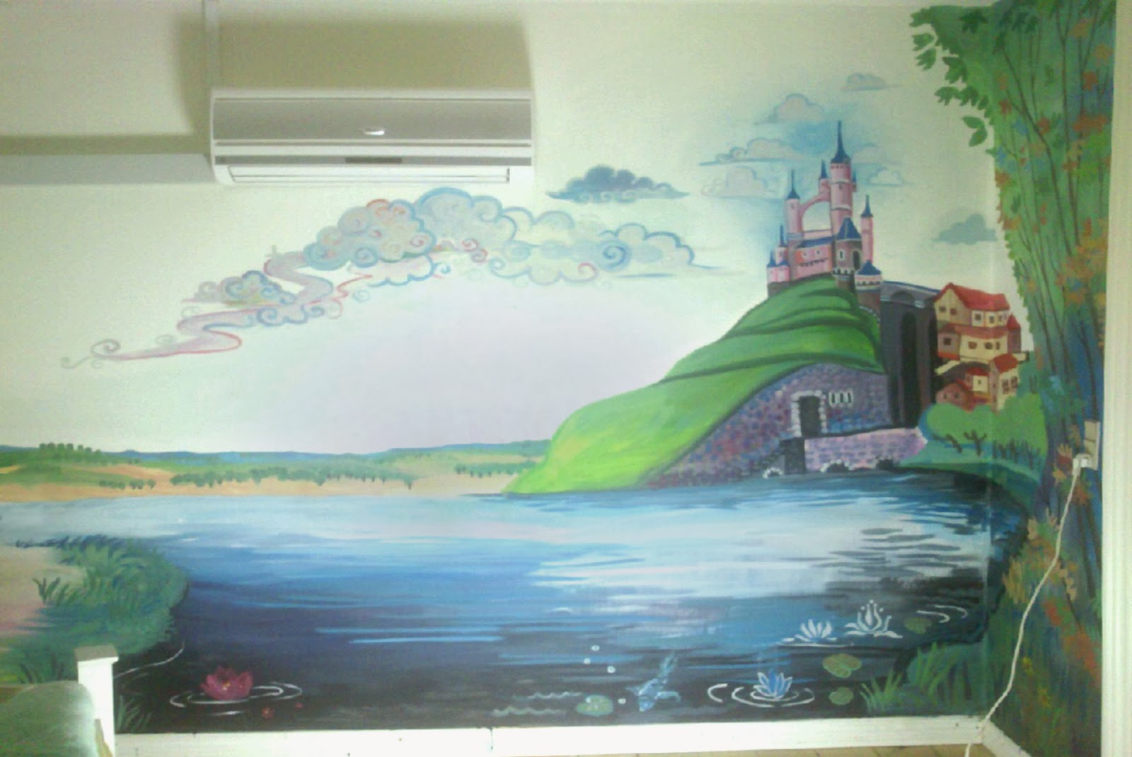 maggie murals fairytale nursery wall mural cute little princess by her bed a magic castle on a hill a huge lake and a beautiful forest of her own