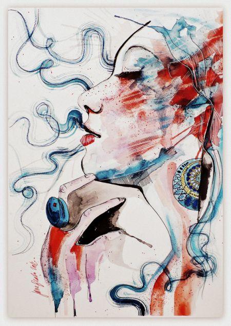 Jana Lepejova jane-beata deviantart pinturas aquarela mulheres olhares femininos Afeição