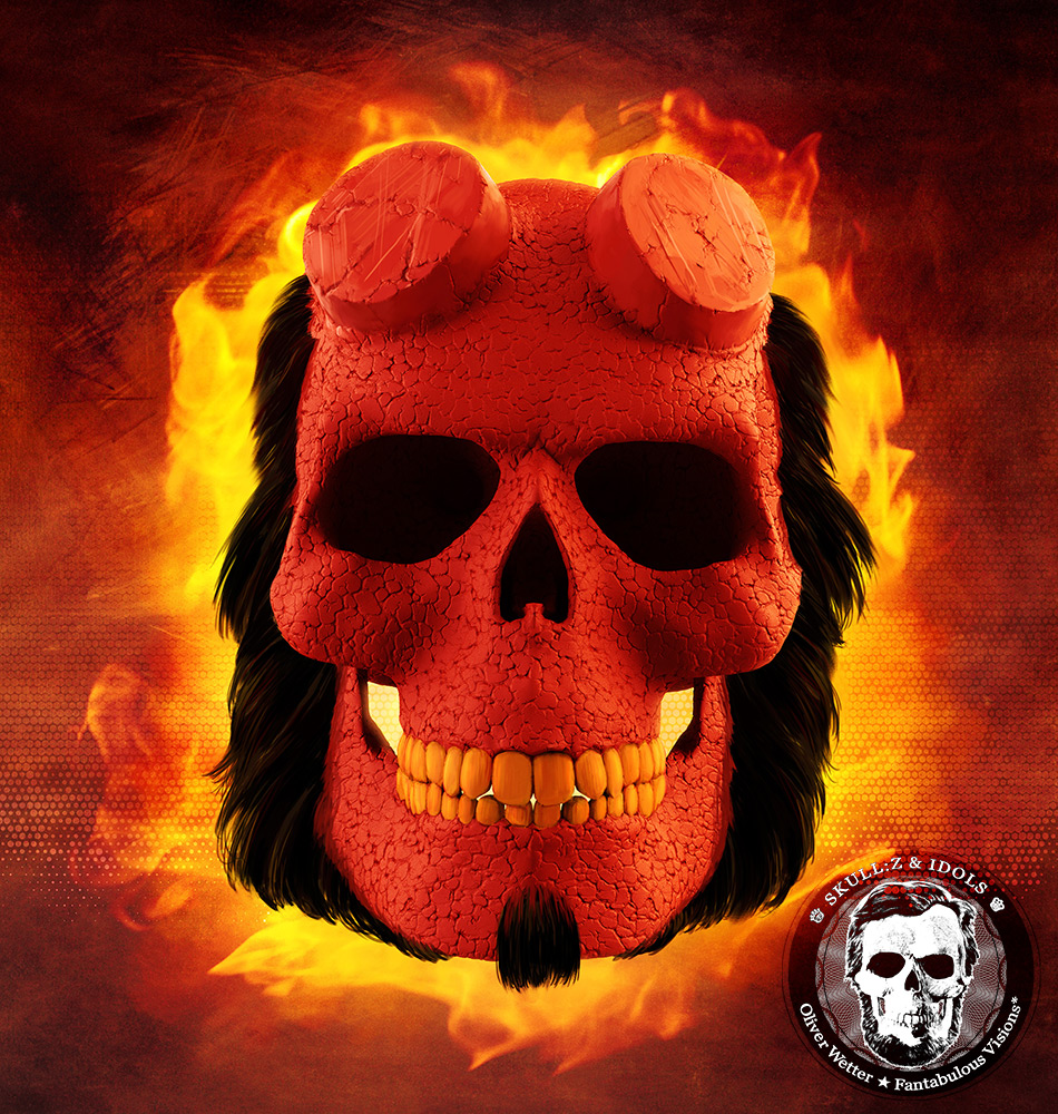 Skull portrait of Hellboy