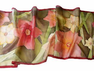 Nárcisz selyem sál. Ajándék nőknek Karácsonyra: sálak, kendők selyemből, kézzel festve