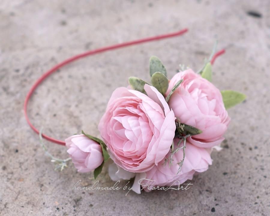 Ślubna opaska do włosów z kwiatami