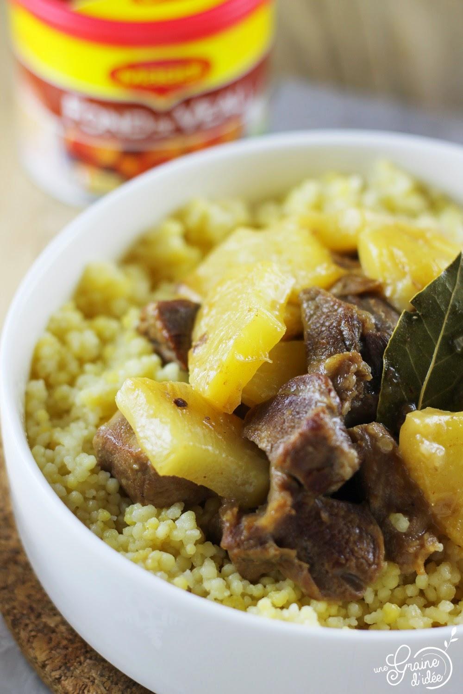 Sauté de porc à l'ananas et tendre perles - Une Graine d'Idée