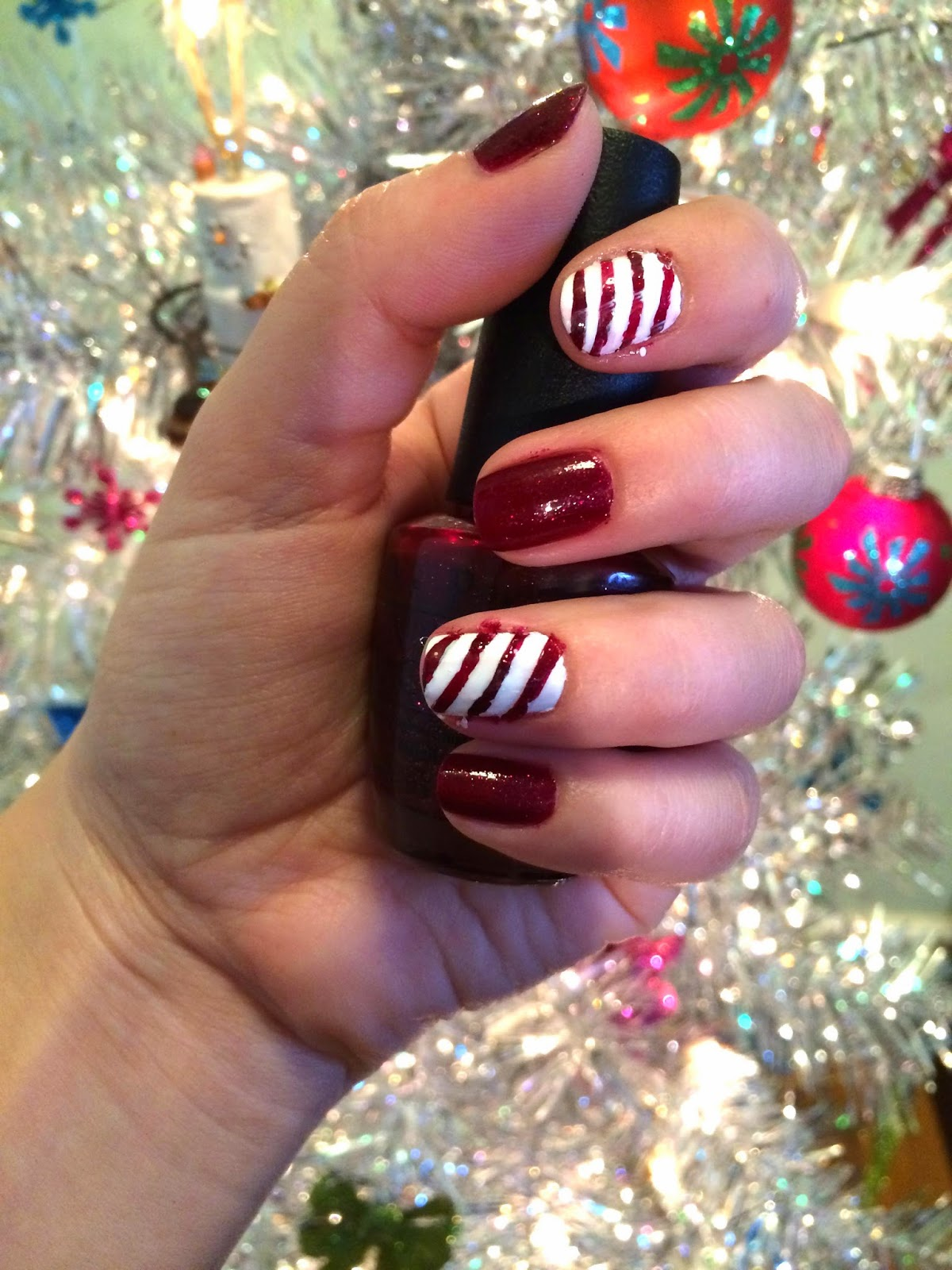 12 Days Of Festive Nails Day 1 Candy Cane Beauty By Birdy