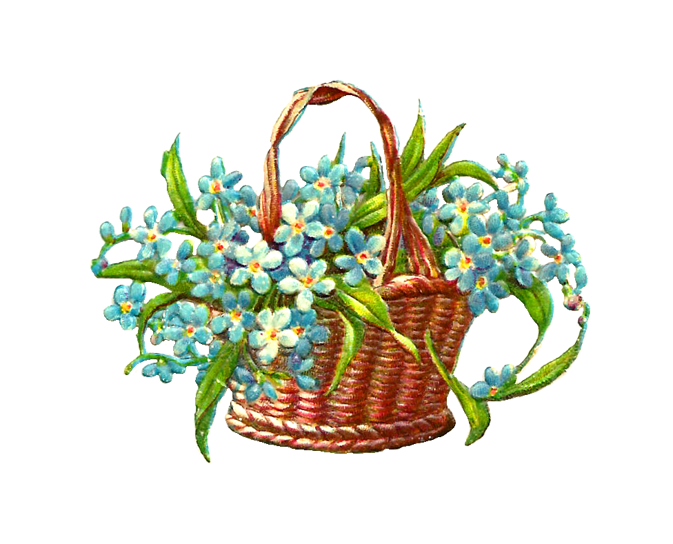 Flower Baskets Photos : Antique images free flower graphic wicker