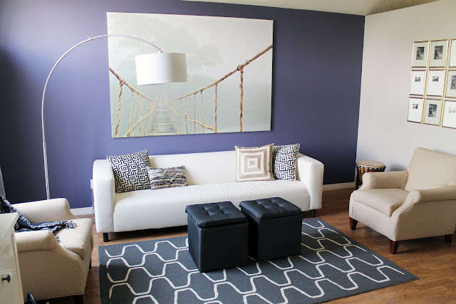 Chris Loves Julia Living room Before-neutral, purple feature wall graphic print rug