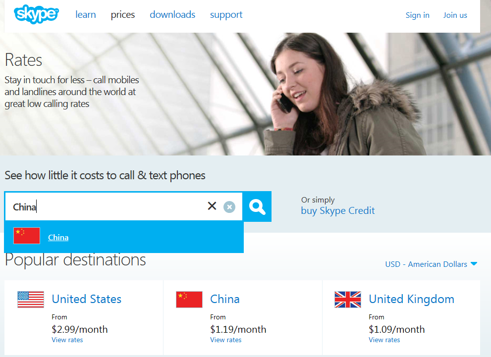 international calling rates to Singapore from the US via Skype