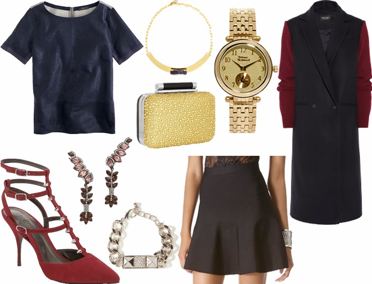NYE Outfit J.Crew leather top BCBG flared skirt Sophie Hulme jacket DVF minaudiere