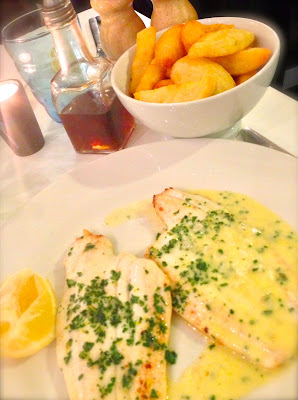 Lemon sole with triple cooked chips Fish at 85 Cardiff