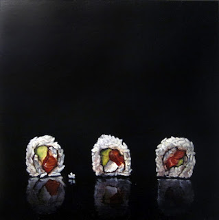 realistic painting  of sushi rolls by jeanne vadeboncoeur