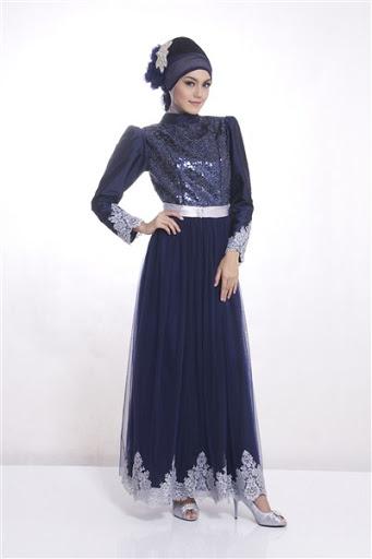 Baju muslim brokat model gaun pesta terbaru 2015 dan 2016