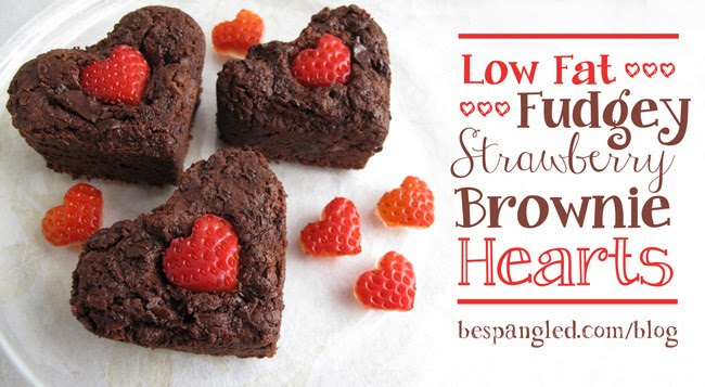 Valentine's Day Treat:  Low Fat Chocolate Strawberry Brownie Hearts