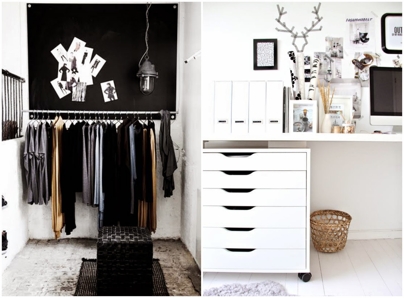 Monochrome Black White Bedroom Dressing Room