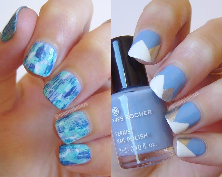 Blue nail art azul