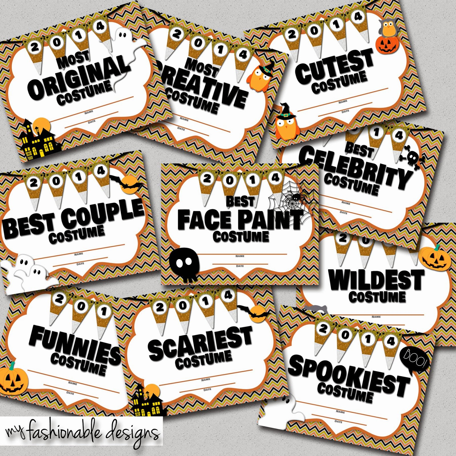 My fashionable designs halloween costume contest certificates halloween costume contest certificates for my blog readers enter coupon code blogger at checkout for 200 off this instant download yelopaper Images