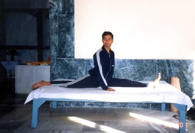 Yoga Master Rajendra Pandey Demonstrating Hanuman Asana
