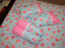 Blue&Pink Rose Quilt Set