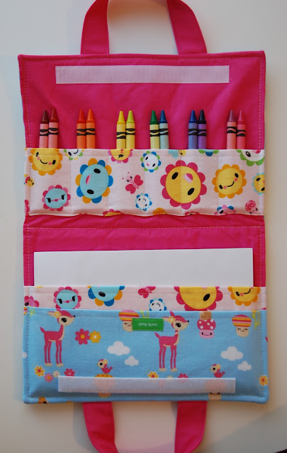children's fabric art folio with pockets and velcro close
