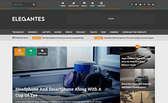 Download - Elegantes Beautiful Responsive Blogger Template