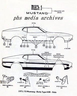 Tech Files    1971   1973    Mustang    Tape Stripes  Appliques and