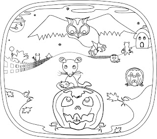 Spooky game of owl and mouse on Halloween night in coloring book for 2012 by Bindlegrim