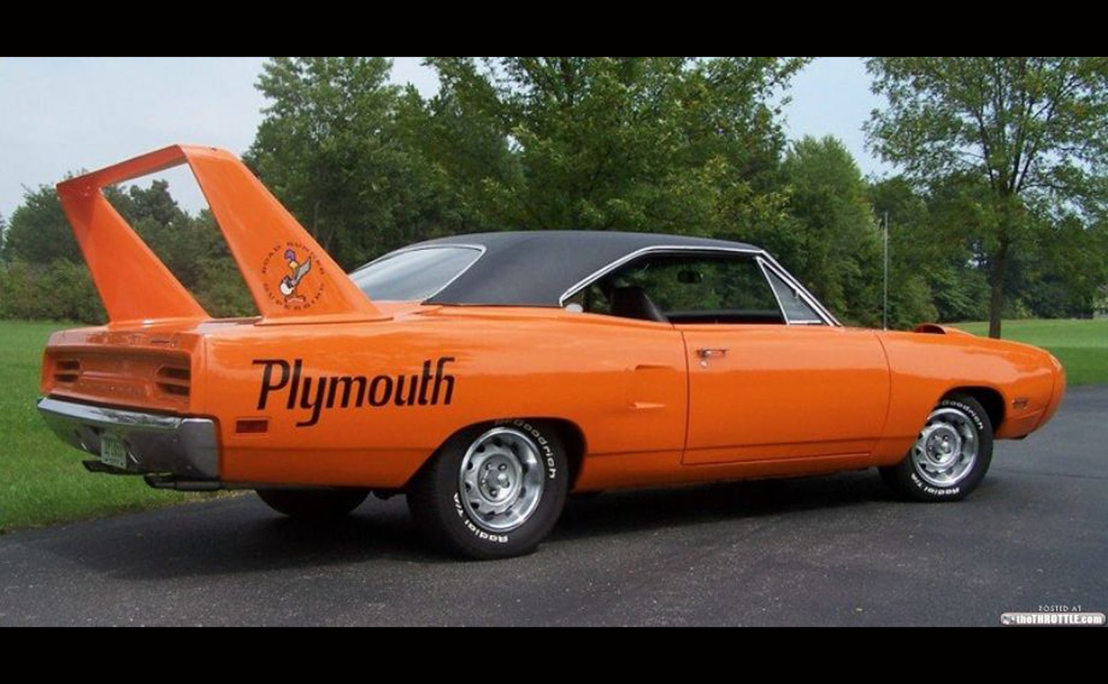 Classic muscle car dodge plymouth plymoth rear spoiler giant orange