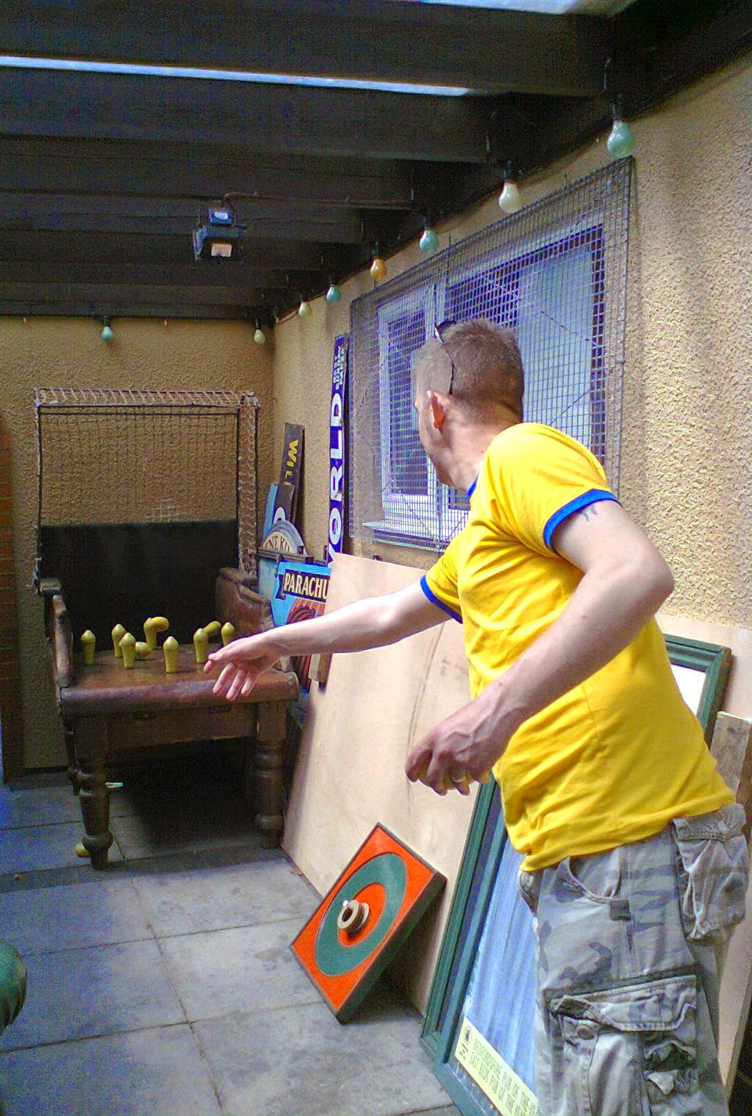 Playing Northamptonshire Table Skittles at the Engineers Arms pub in Henlow, Bedfordshire