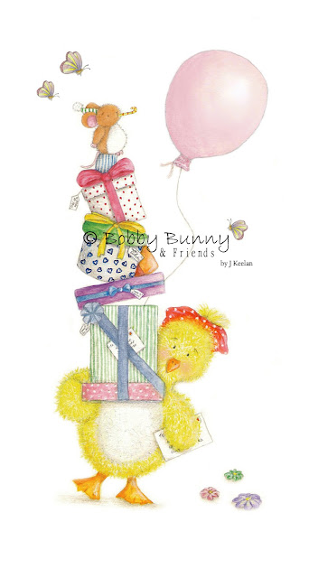 Dotty Duck Character Birthday Illustration - Copyright Bobby Bunny & Friends - By Jennife Keelan Illustration 2009