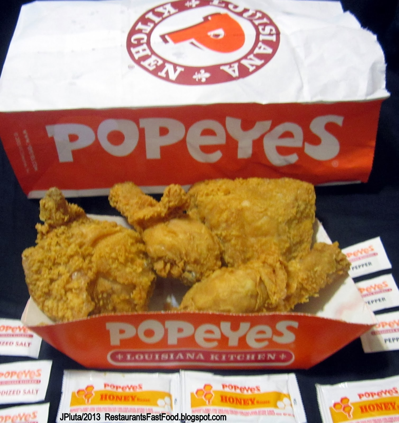 POPEYES FRIED CHICKEN 4 Piece Snack Meal Honey Sauce,