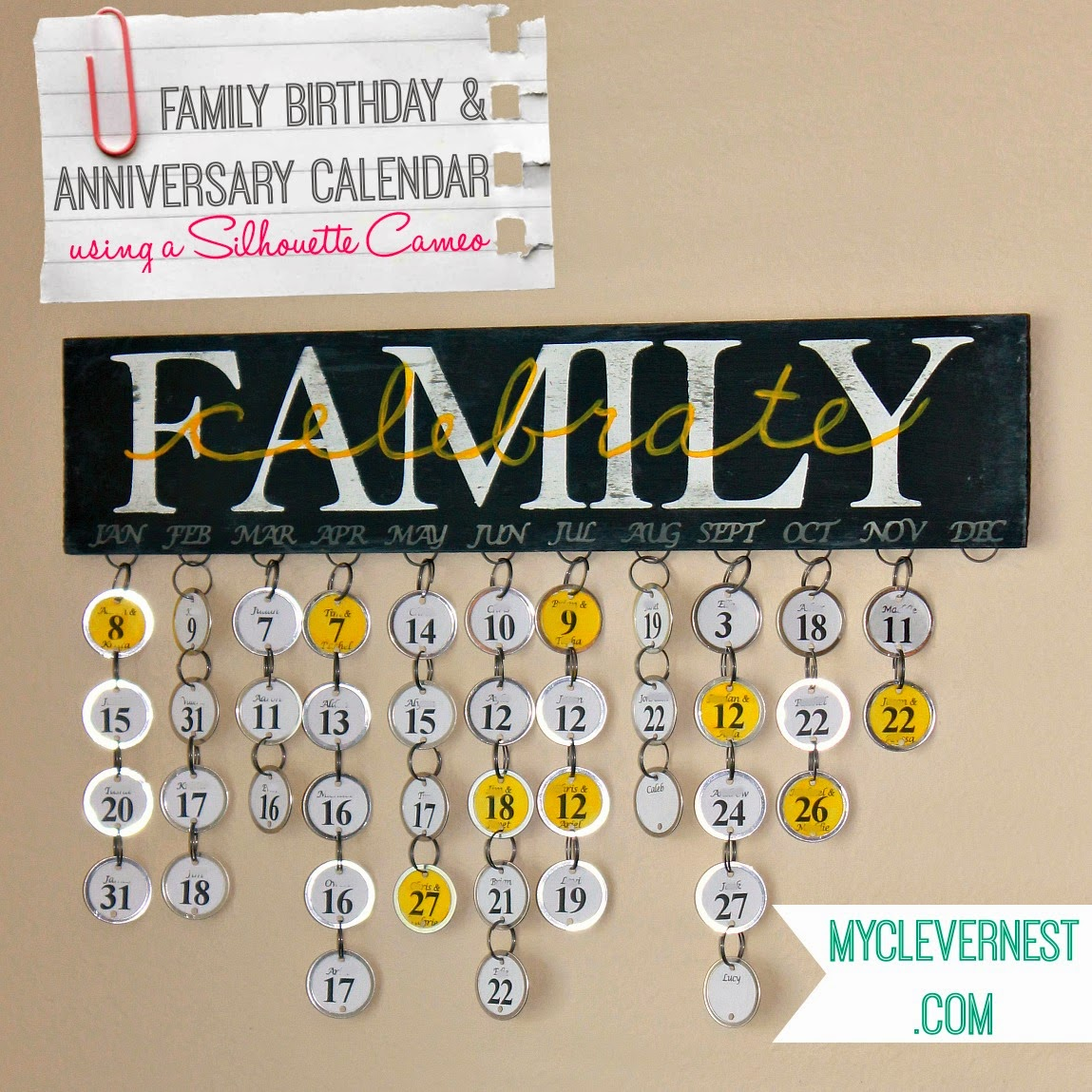 Celebrate Family Birthday Calendar by myclevernest. This comes with alternate instructions if you don't own a Cameo! #silhouette #yellowgray #handpainted #typography #subwayart #birthdaycalendar #clevernest