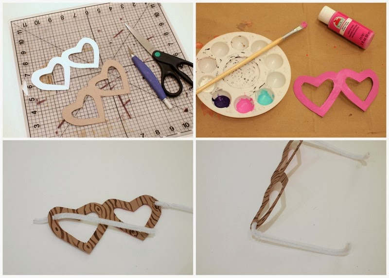 Steps to make heart shaped glasses