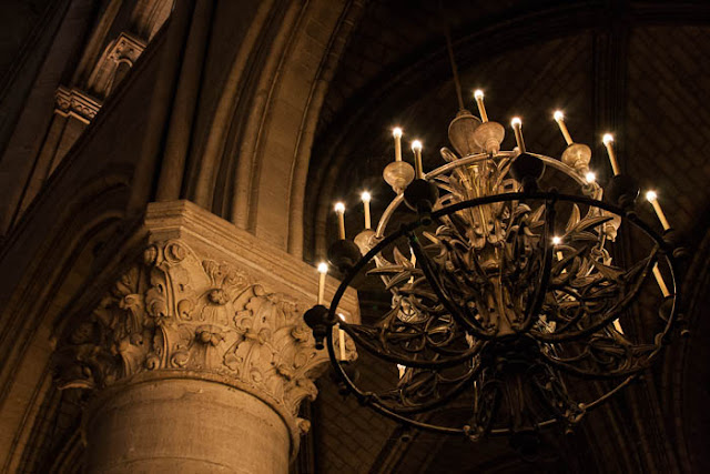 chandelier in Notre Dame Cathedral