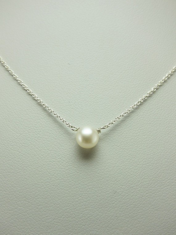 Simple Small Freshwater Pearl Silver Necklace