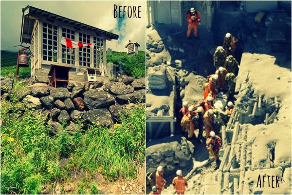 Before and After photos of Mt Ontake Volcanic Eruptions in Japan via geniushowto.blogspot.com Natural disaster scene-2