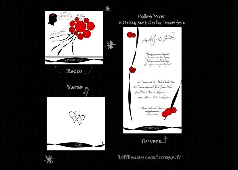 faire part de mariage personnalis bouquet de la mari e la fille au noeud rouge faire part. Black Bedroom Furniture Sets. Home Design Ideas