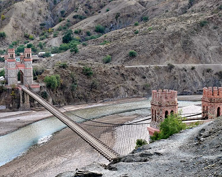 A castle and rail bridge between Potosi and Sucre.