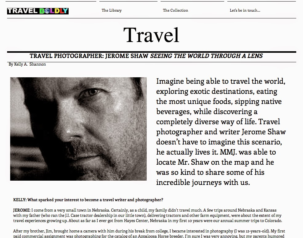 Screen capture from Mode Moderne Journal interview with Travel Writer & Photographer Jerome Shaw