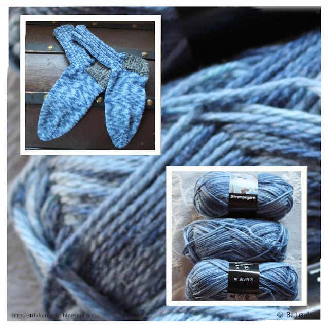 Blå strikket herrestrømper