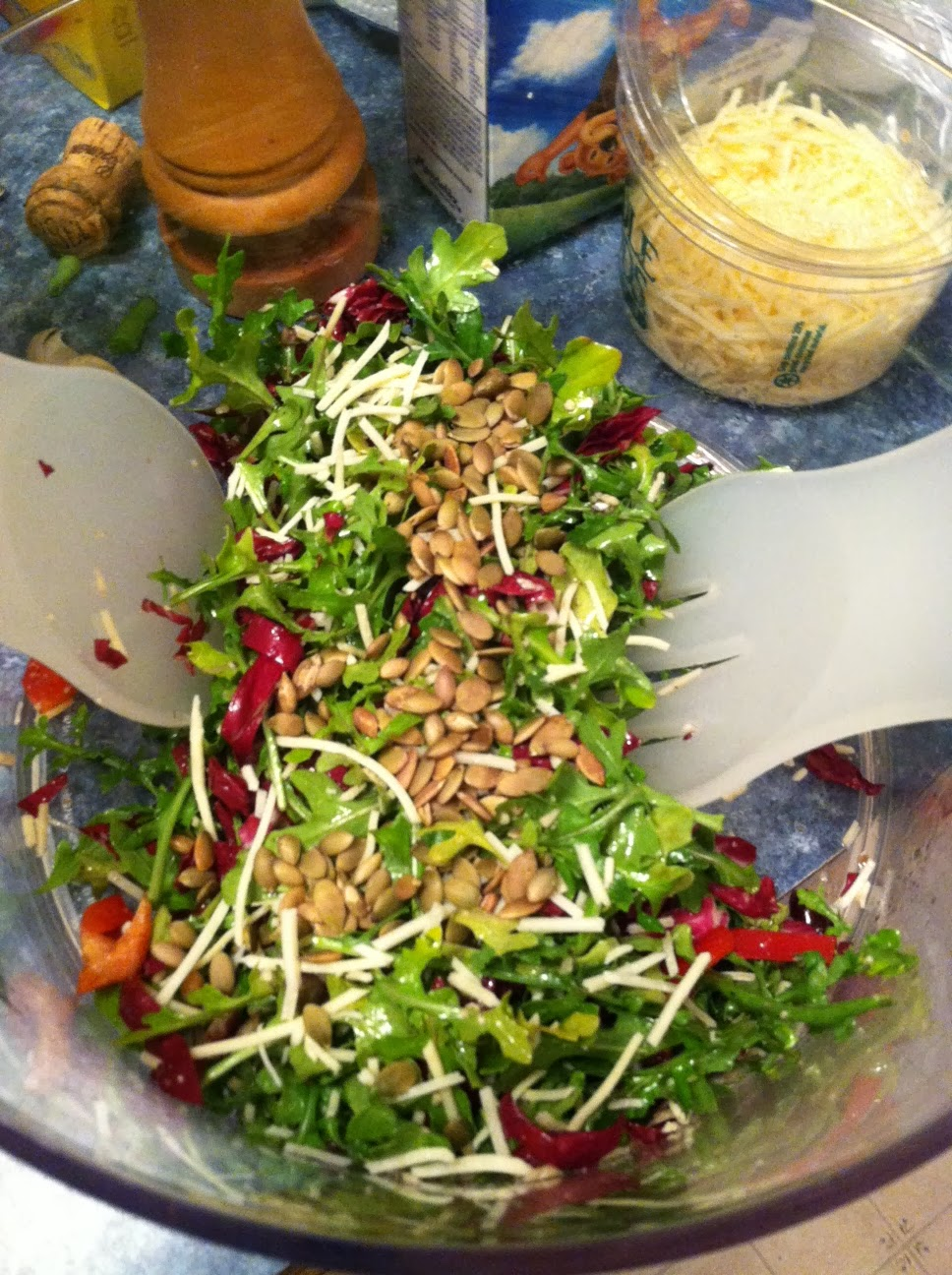 Tossing Tuscan Arugula Salad. Cooking Chat #salad recipe.