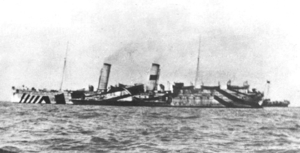The Mona's Queen, around 1917 with dazzle camouflage, carried the 1st Tyneside Irish to France in 1916 (from the John sheen Collection)
