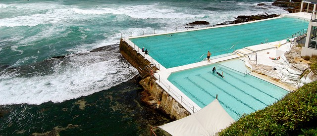 the bondi icebergs pool in sydney australia is an olympic sized pool that uses ocean water from waves which crash over the walls so you are essentially - Olympic Swimming Pool 2013