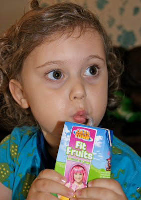 Ben enjoying Lazy Town Fit Fruits Juice