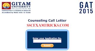 GITAM GAT Counseling 2015 Call Letter