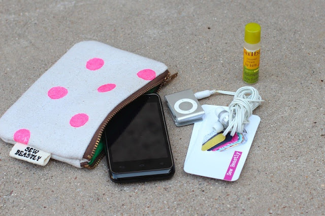 Handprinted Polka Dot Mini Pouch in Neon Pink - Sew Beastly